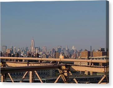View Over New York City From Brooklyn Bridge Canvas Print by Thepurpledoor