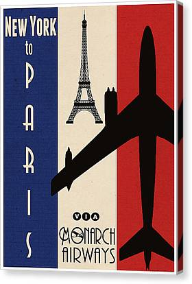 Vintage Air Travel Paris Canvas Print by Cinema Photography