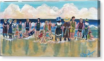 Vintage Bathers Canvas Print by Doralynn Lowe