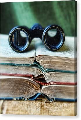 Vintage Binoculars On Stack Of Open Books Canvas Print by Jill Battaglia