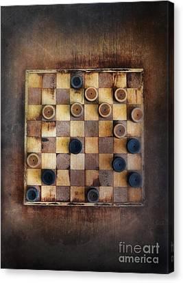 Vintage Checkers Game Canvas Print by Jill Battaglia