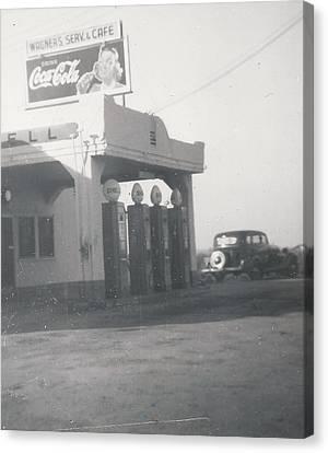 Vintage Coca Cola And Gas Canvas Print by Alan Espasandin