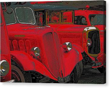 Vintage Fire Truck Techno Art Canvas Print by Tony Grider