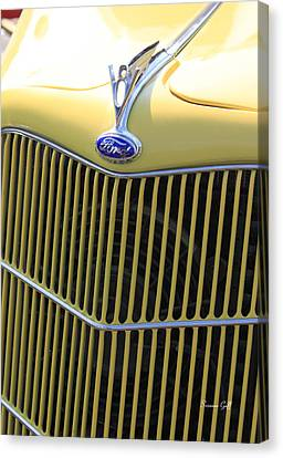 Vintage Ford V8 Grill Canvas Print by Suzanne Gaff