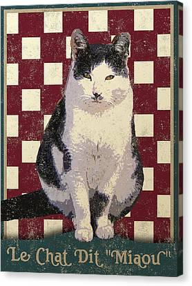 Vintage French Bistro Cat Canvas Print by Flo Karp