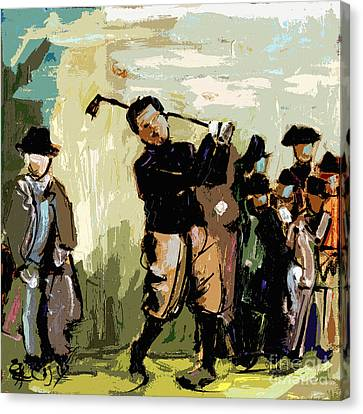 Vintage Golfer And Spectators Canvas Print by Ginette Callaway