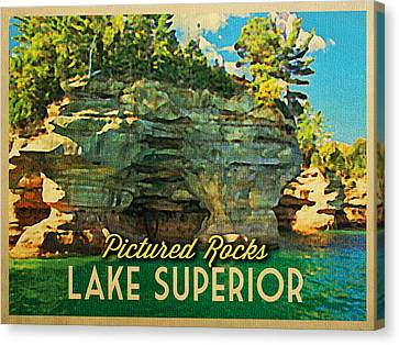 Vintage Lake Superior Pictured Rocks Canvas Print by Flo Karp