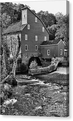 Vintage Mill In Black And White Canvas Print by Paul Ward
