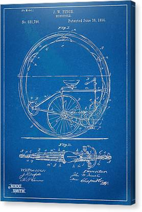Vintage Monocycle Patent Artwork 1894 Canvas Print by Nikki Marie Smith