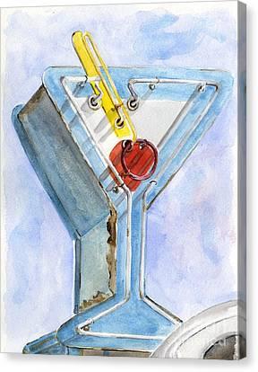 Vintage Neon- Martini Glass Canvas Print by Sheryl Heatherly Hawkins