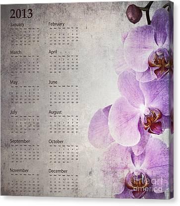 Vintage Orchid Calendar 2013 Canvas Print by Jane Rix