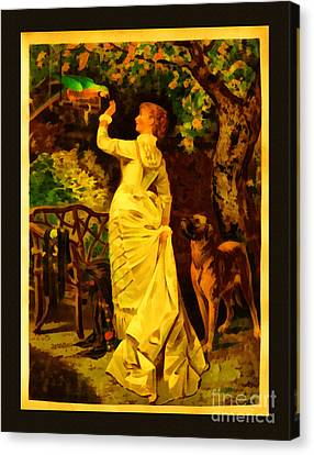 Vintage Reproduction Of Woman Feeding Parrot Canvas Print by Anne Kitzman