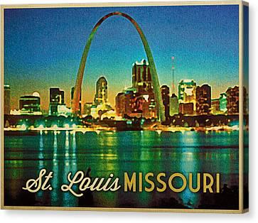 Vintage St. Louis Skyline Canvas Print by Flo Karp