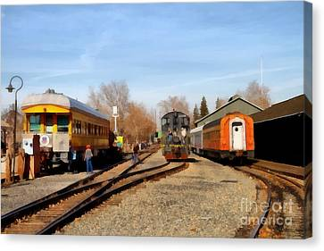 Vintage Trains At The Old Sacramento Train Depot . 7d11513 Canvas Print by Wingsdomain Art and Photography