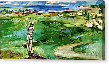 Vintge Golfer By The Sea Canvas Print by Ginette Callaway