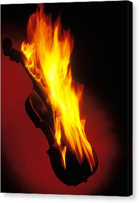 Violin On Fire Canvas Print by Garry Gay