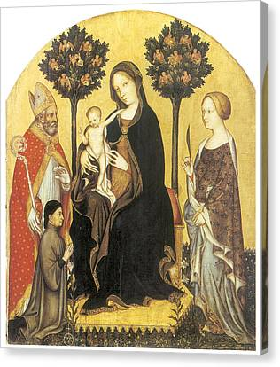 Virgin And Child Enthroned Canvas Print by Gentile Da Fabriano