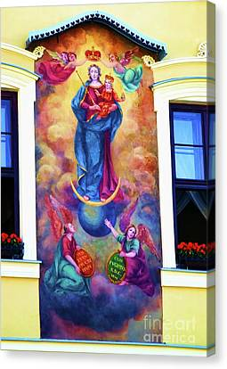 Virgin Mary Mural Canvas Print by Mariola Bitner