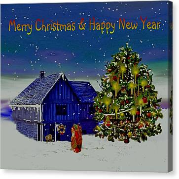 Visit From Santa Christmas Greeting Canvas Print by Julie Grace