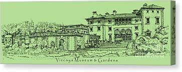 Vizcaya Museum In Olive Green Canvas Print by Adendorff Design