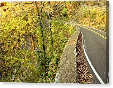 W Road In Autumn Canvas Print by Tom and Pat Cory