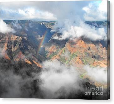 Waimea Canyon Rainbow Canvas Print by Rebecca Margraf