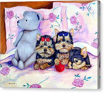 Waiting For Mom - Yorkshire Terrier Canvas Print by Lyn Cook