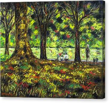 Walk In The Park Canvas Print by John  Nolan