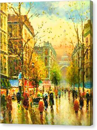 Walking In The Rain Canvas Print by Georgiana Romanovna