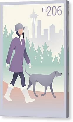 Walking The Dog In Seattle Canvas Print by Mitch Frey