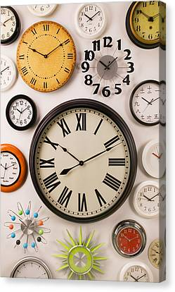 Wall Clocks Canvas Print by Garry Gay