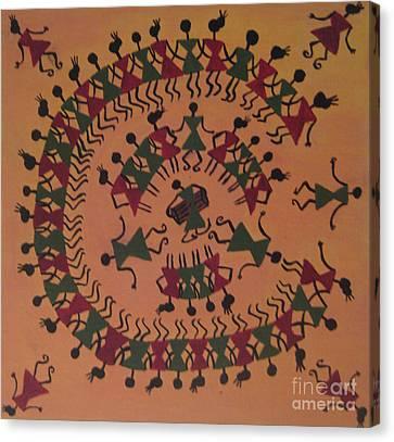 Warli Art Canvas Print by Deepa Padmanabhan