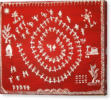 Warli Art Canvas Print by Renuka Thoppae
