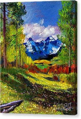 Warm Mountain Valley Plein Air Canvas Print by David Lloyd Glover