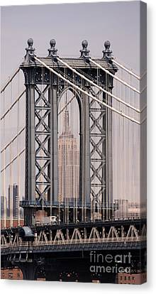 Washington Bridge And Empire State Building Canvas Print by Holger Ostwald