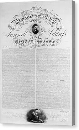 Washington: Farewell, 1796 Canvas Print by Granger