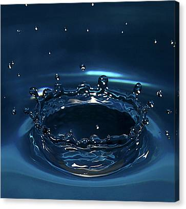 Water Drop Impact Canvas Print by Linda Wright
