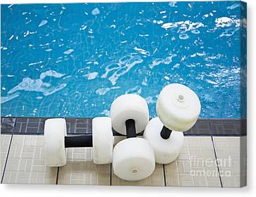 Water Floats At Poolside Canvas Print by Marlene Ford