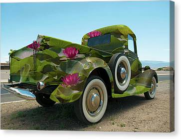 Water Lily Truck Canvas Print by Carolyn Dalessandro