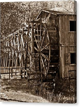 Water Mill In Action Canvas Print by Douglas Barnett