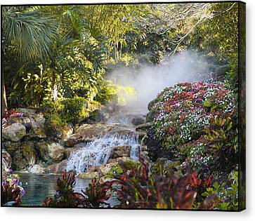 Waterfall In The Mist Canvas Print by Barbara Middleton