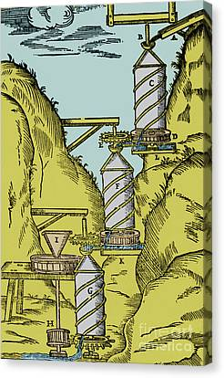Watermill Reversed Archimedean Screw Canvas Print by Science Source