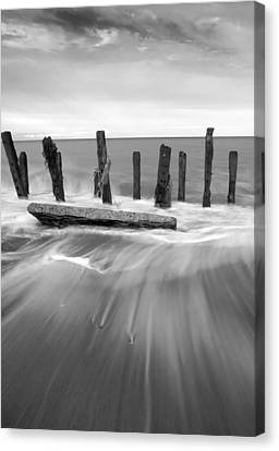 Wave In Black And White Canvas Print by Svetlana Sewell