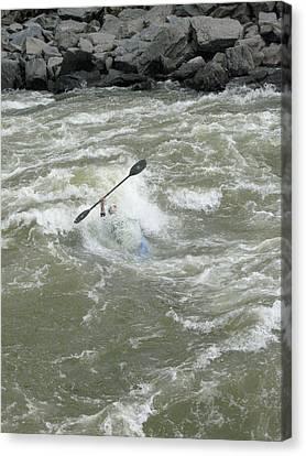 Wave Surfing Kayaker Goes Underwater Canvas Print by Skip Brown