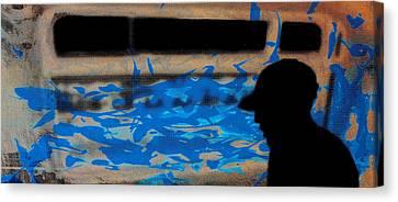 Waves - Siebdruck Kunst Silhouette Canvas Print by Arte Venezia