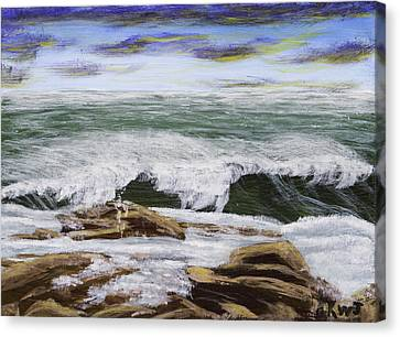 Waves And Rocks Maine Seascape Painting Canvas Print by Keith Webber Jr
