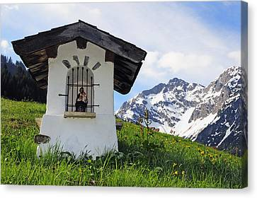 Wayside Shrine In The Mountains Canvas Print by Matthias Hauser