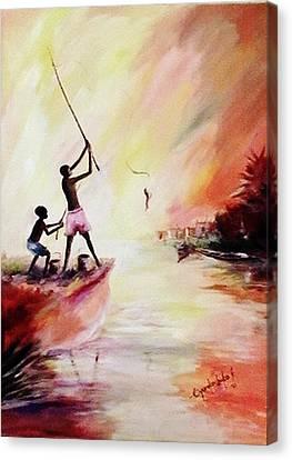We Fished Canvas Print by Oyoroko Ken ochuko