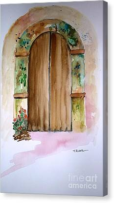 Weathered Door Of Greece Canvas Print by Therese Alcorn