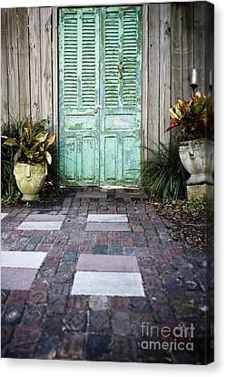 Weathered Green Door Canvas Print by Sam Bloomberg-rissman